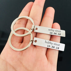 Personalised Hubby & Wifey Keyring Set