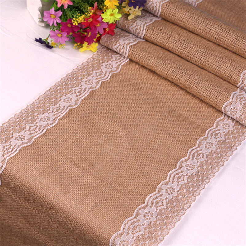 Rustic Burlap & Lace Table Runner - 30 x 275cm
