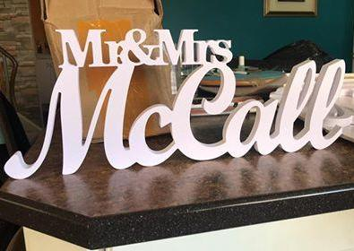 Personalised Wedding Table Name