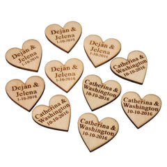 Personalised Wooden Table Heart Decorations