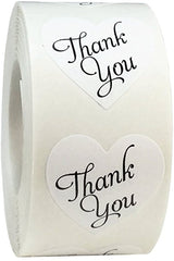 Heart Shaped Thank You Stickers