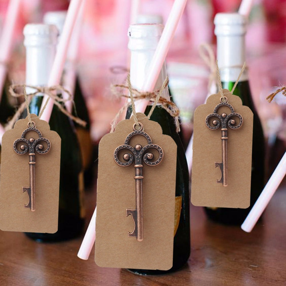 50pcs Skeleton Key Bottle Opener & Tag Favors