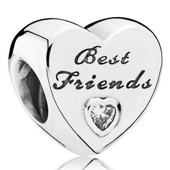 Silver Best Friends Heart Charm