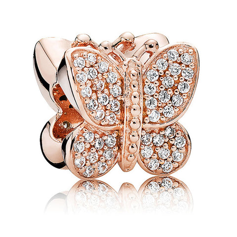 Rose Gold Butterfly Gem Charm