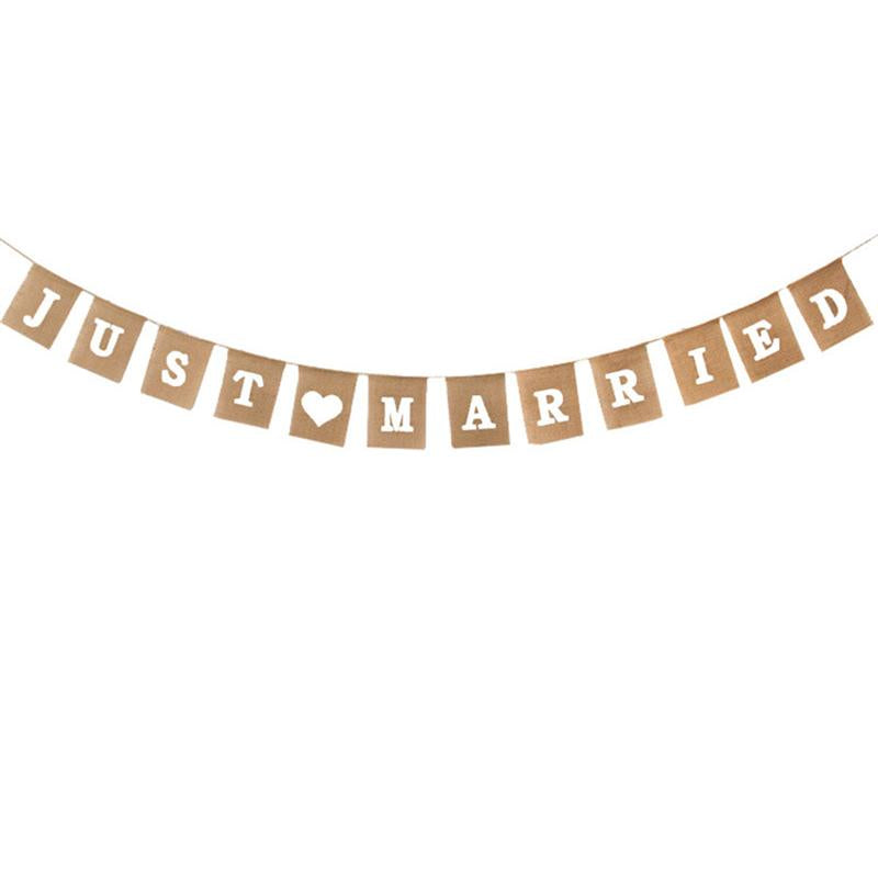 Just Married Burlap Bunting