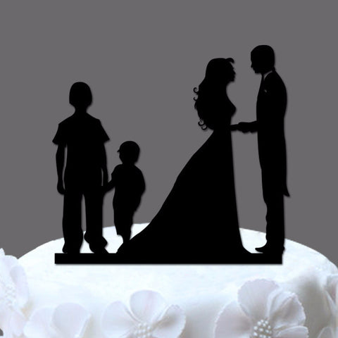 Family Wedding Cake Topper - 2 Boys