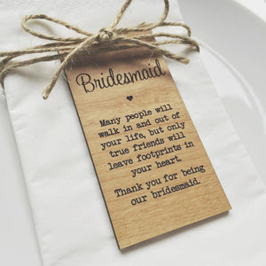 Bridesmaid Wooden Table Place Card