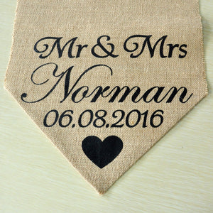 Personalised Burlap Table Runner