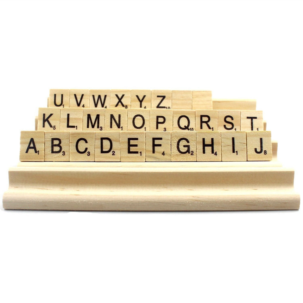 Scrabble Stands With Letter Tiles