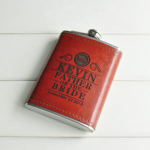 Personalised Leather Wrapped 8oz Hip Flask