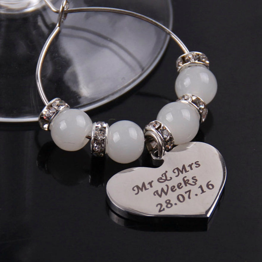 Personalised Table Decoration Bridesmaid Wine Glass Charm