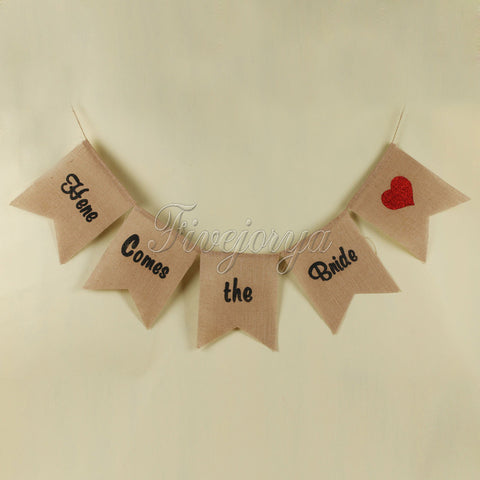 "Rustic Burlap ""Here Comes the Bride"" Banner Bunting"