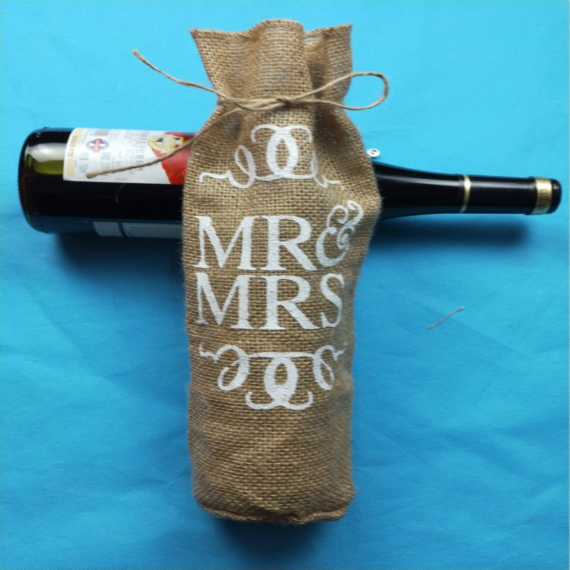 Burlap Mr & Mrs Bottle Cover