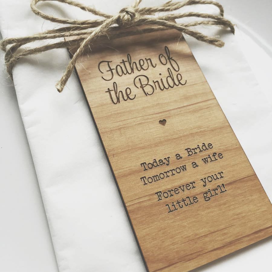 Father of the Bride Wooden Table Place Cards