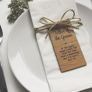 Father of the Groom Wooden Table Place Card