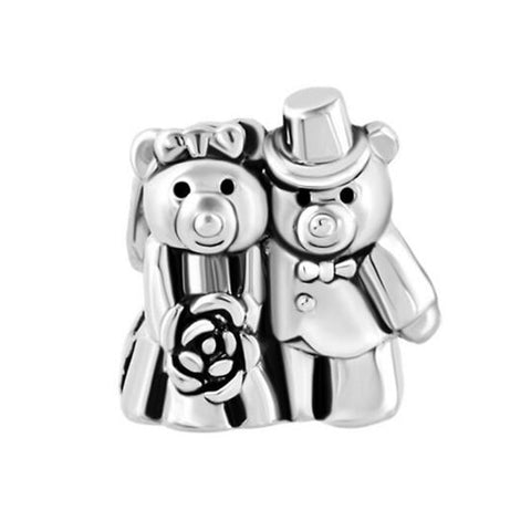 Silver Teddy Bear Couple Charm