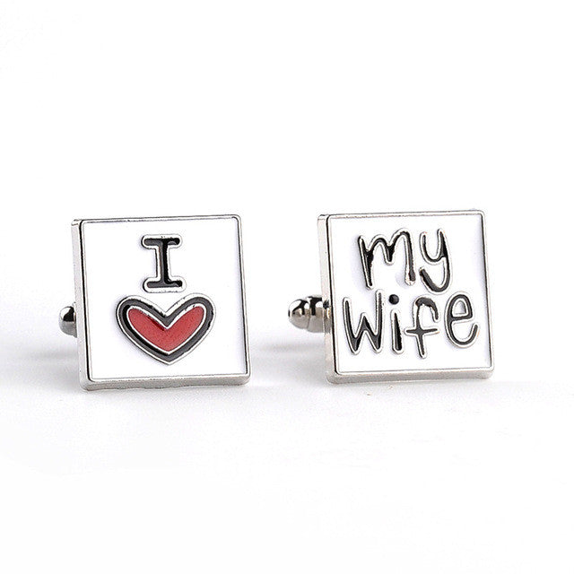 """I Love My Wife"" Cufflinks - Gift for the Groom"