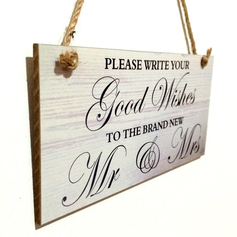 Good Wishes To Mr Mrs Wooden Sign