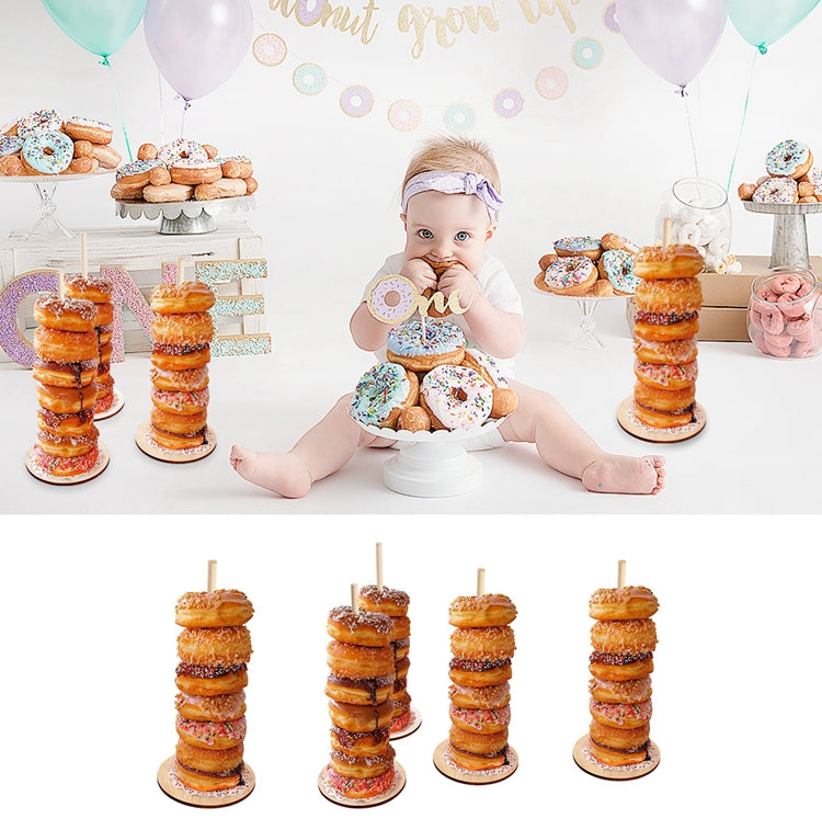 QIFU Donut Wall Holds Candy Sweet Cart Rustic Wedding Decoration Wood Wedding Table Decor Birthday Party Decor Baby Shower