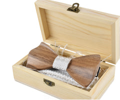 Handmade Wooden Bow Tie & Hanky Gift Box Set