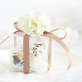 Silk Flower Topped Plastic Favor Boxes - 10pcs