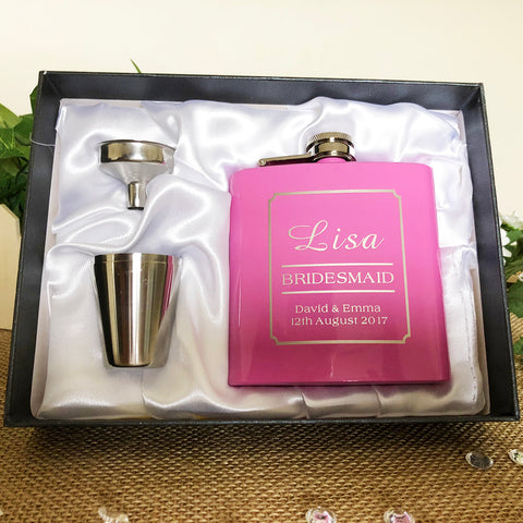 Personalised Hip Flask Gift Set