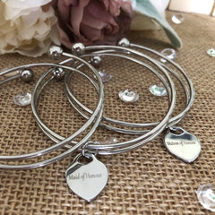 Personalised Heart Pendant Bangle