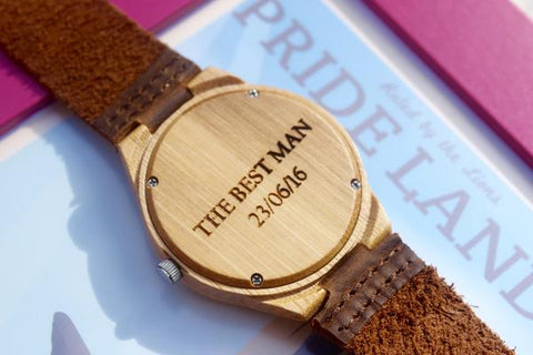 Personalised Bamboo Leather Strap Watch