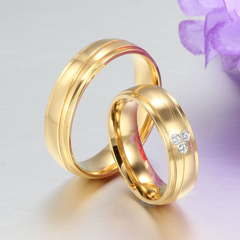 Gold Plated Wave Dual Groove  His & Hers Wedding Bands