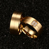 Image of Matte Gold Plated Single Groove His & Hers Wedding Bands