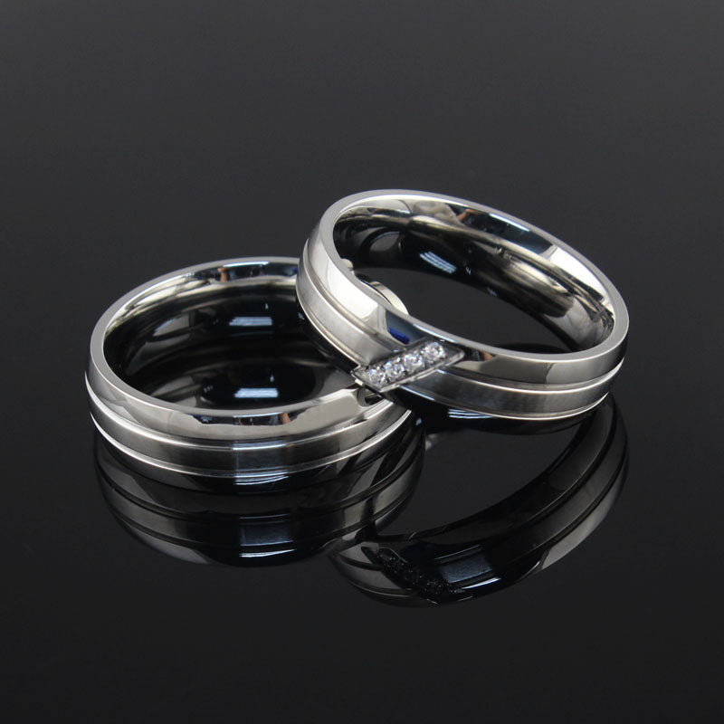 Matte Dual Groove  His & Hers Wedding Bands