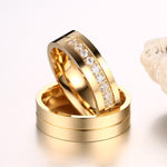 Single Groove Gold Plated His & Hers Wedding Bands