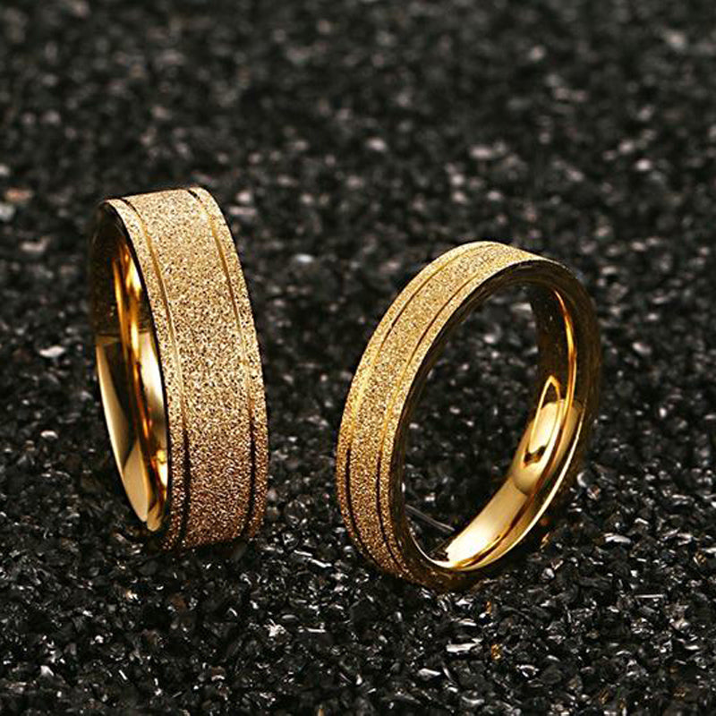Frosted Gold Plated His & Hers Wedding Bands
