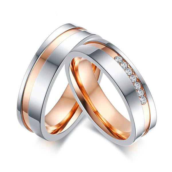 Rose Gold Plated Wave His & Hers Wedding Bands