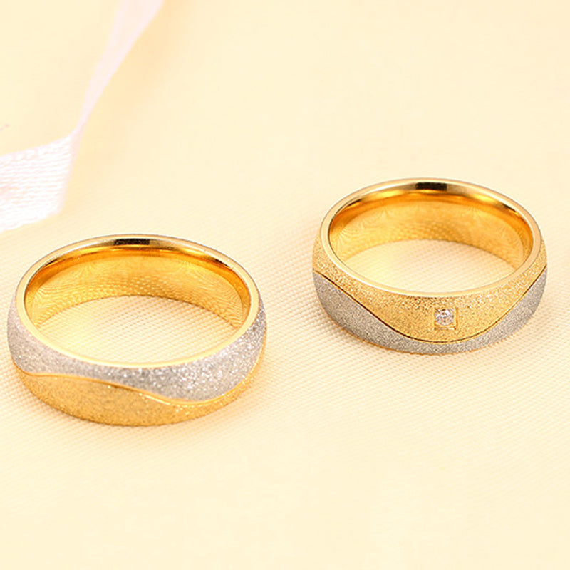 Frosted Dual Plated His & Hers Wedding Bands