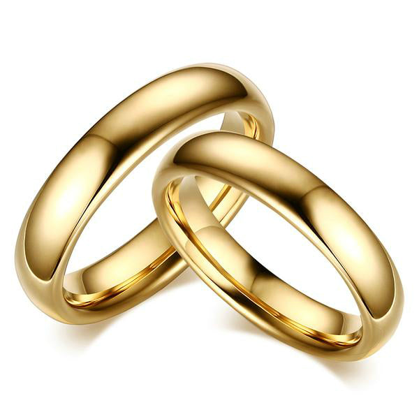 Plain Gold Plated Tungsten His & Hers Wedding Bands