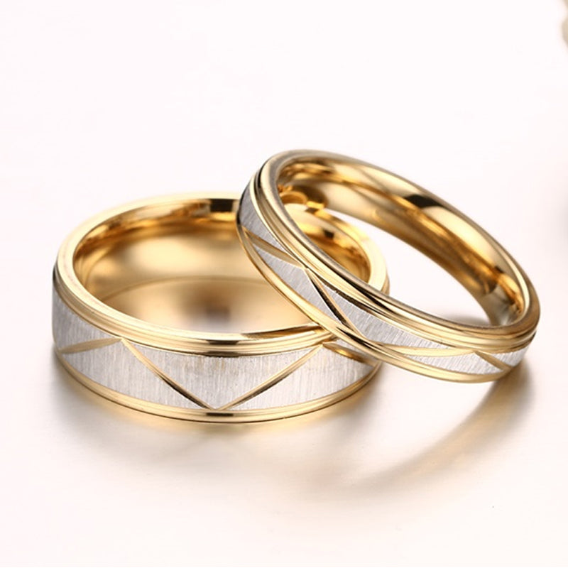 Zig Zag Groove Matte Ribbon His & Hers Wedding Bands