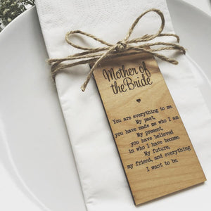 Mother of the Bride Wooden Table Place Card