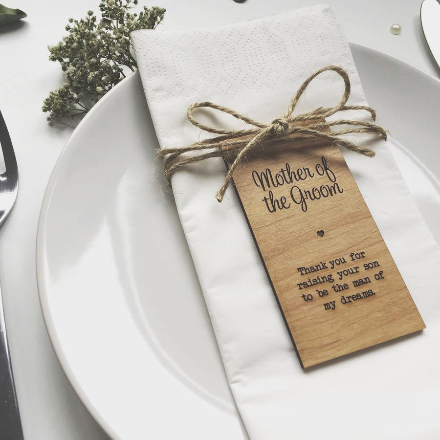 Mother of the Groom Wooden Table Place Card