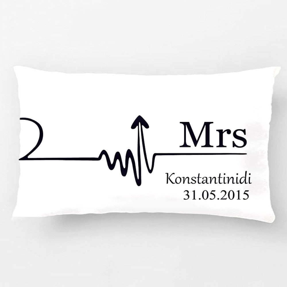 Couples Personalised Mr & Mrs Pillow Case Set