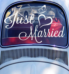 Just Married Car Window Sticker