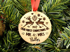 "Personalised Wooden ""Our First Christmas As Mr & Mrs"" Tree Decoration"