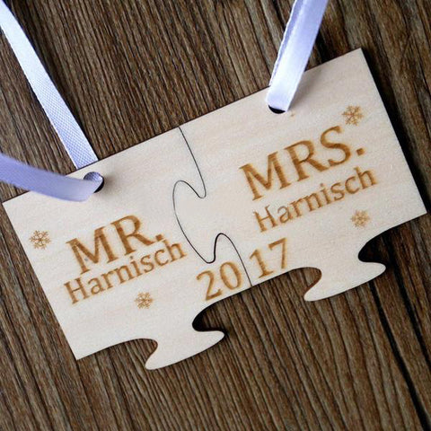Personalised Mr & Mrs Christmas Jigsaw Ornament