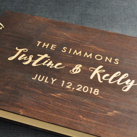 Rustic Custom Engraved Wedding Guest Book