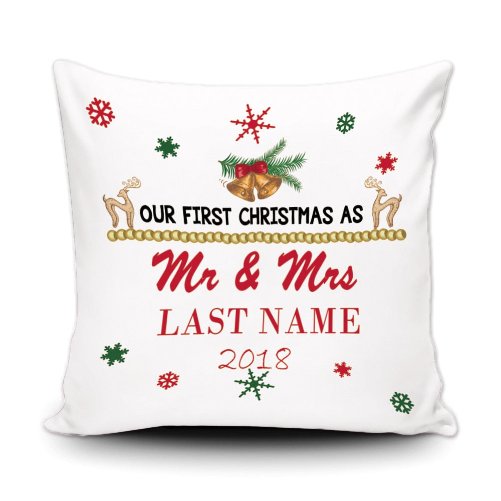 Personalised Our First Christmas Cushion Cover