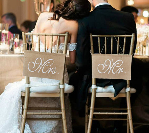 Rustic Burlap Mr & Mrs Chair Banners - Pair