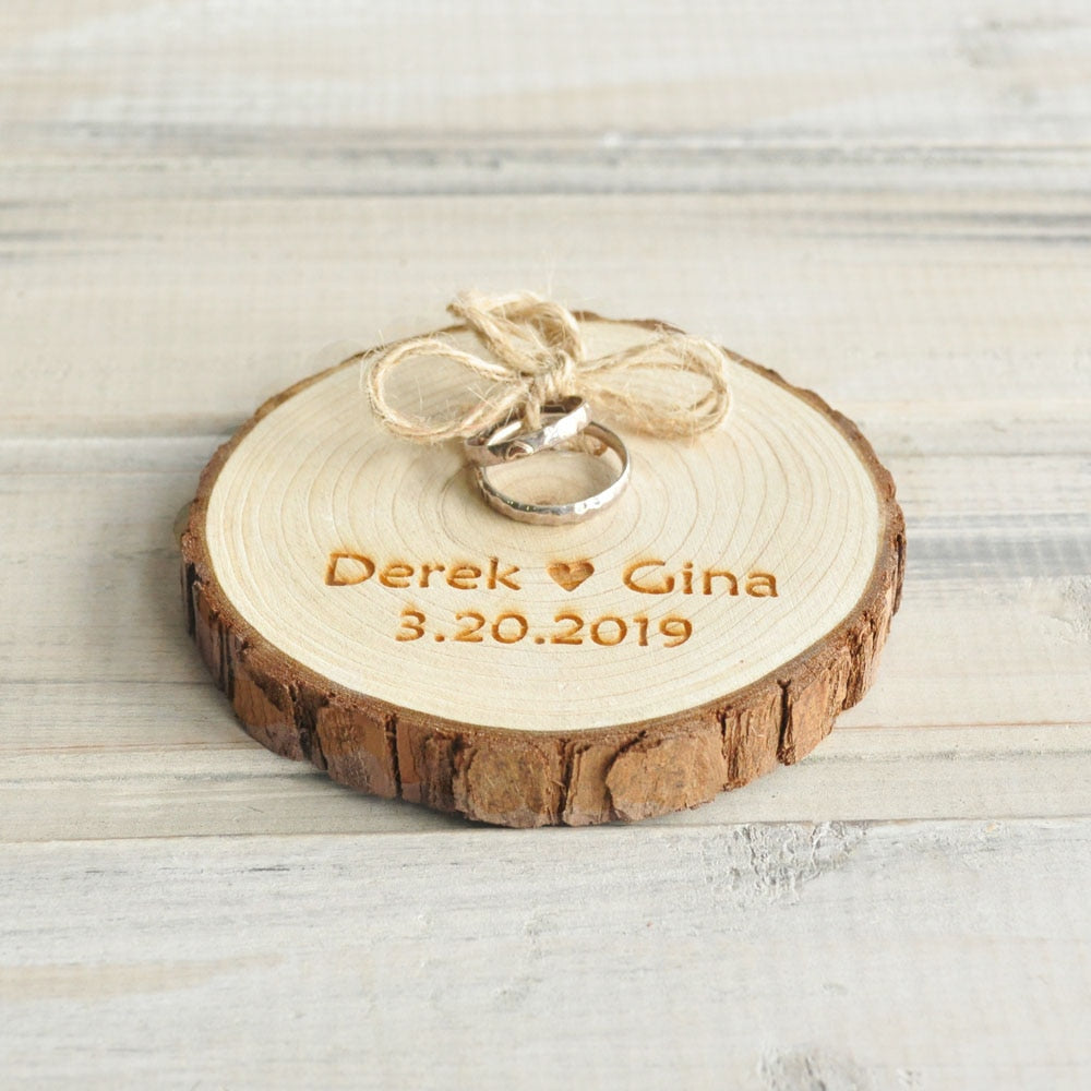 Personalised Rustic Wooden Ring Holder