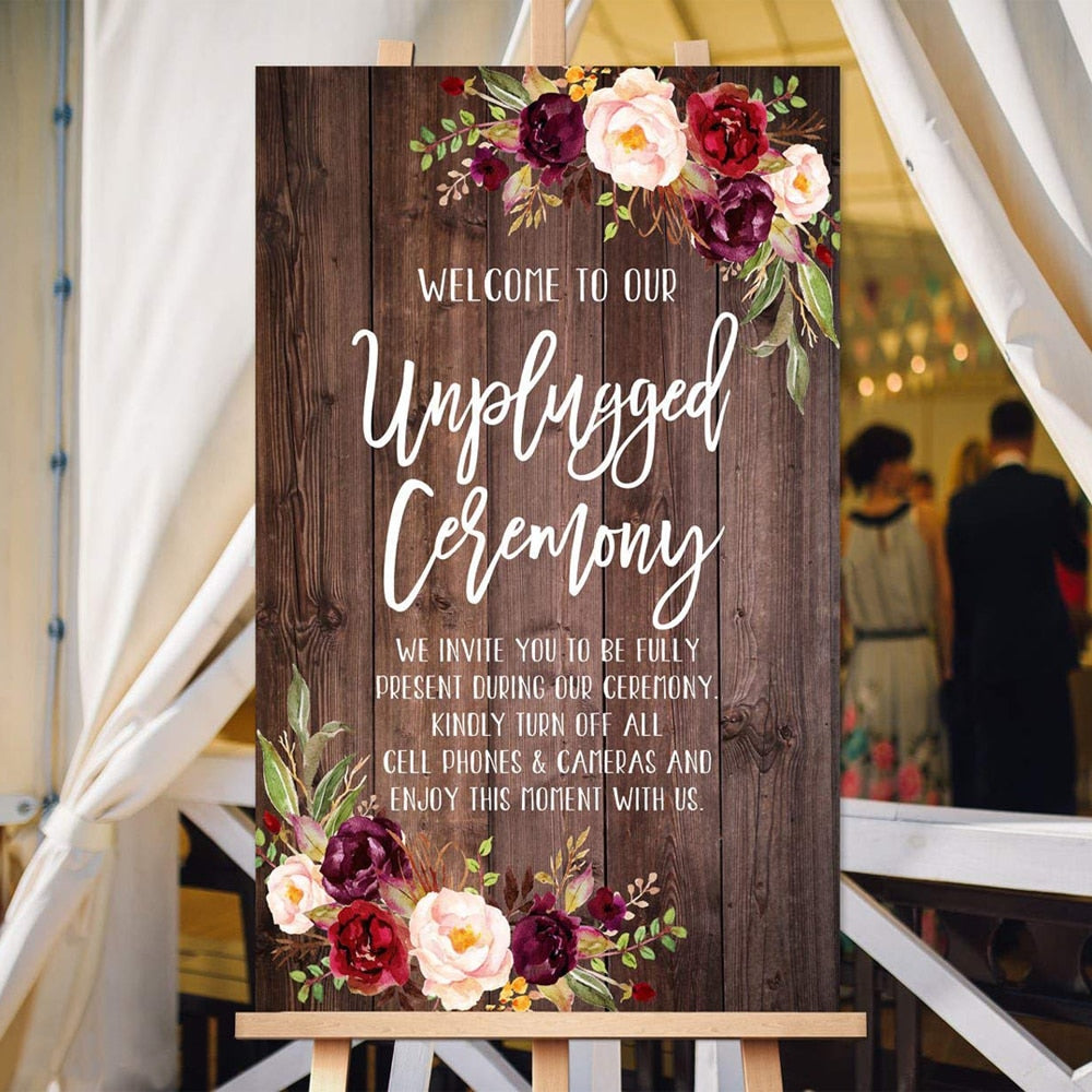Welcome To Our Unplugged Ceremony Wooden Sign