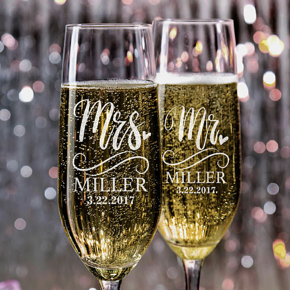 Personalised Mr & Mrs Champagne Glasses