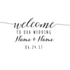 Image of Personalised Wedding Welcome Decal